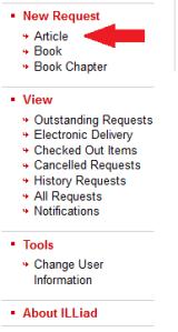 illiad article request menu screenshot