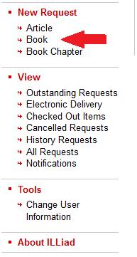 illiad book request menu