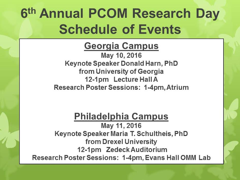 2016 research day schedule outline