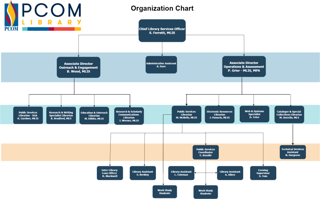 A chart showing the organization and reporting structure of PCOM Library staff.